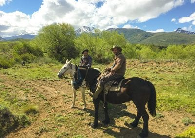 Diego on horses in Quillen, Patagonia